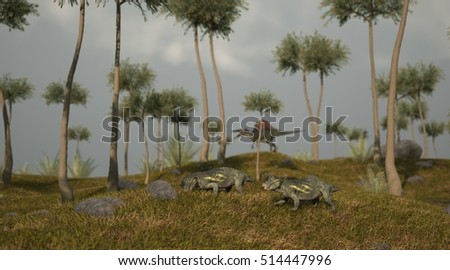 3d illustration of the grazing lystrosaurus