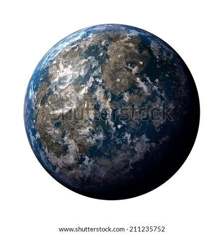 3D illustration of the great blue planet earth isolated on a white background.