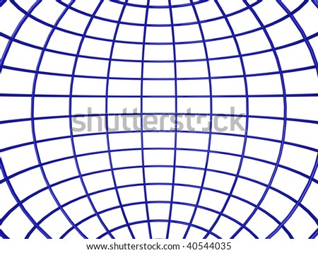 3d illustration of the inside of a shiny wireframe sphere - stock photo