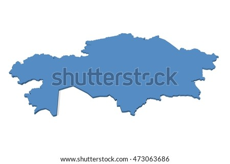 3D illustration of the map of Kazakhstan on a plain background