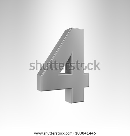 3D illustration of the number 4