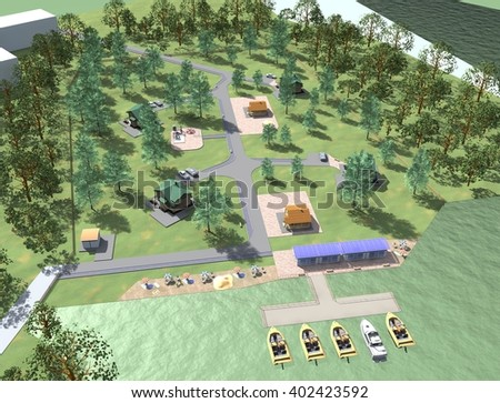 3D illustration of the park
