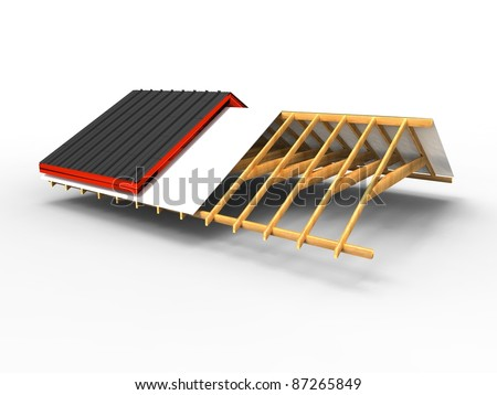 3d illustration of the progress of a roof on a white background - stock photo