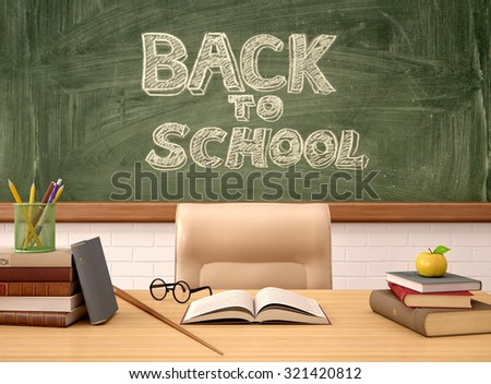 3d illustration of the teacher's Desk in the background of the b - stock photo
