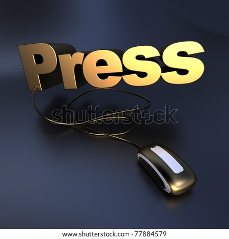 3D illustration of the word press connected to a computer mouse in gold