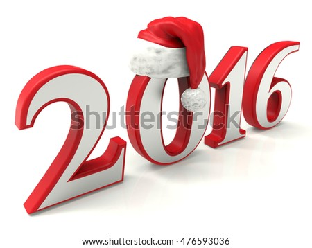 3D illustration of the 2016 year with a Santa hat