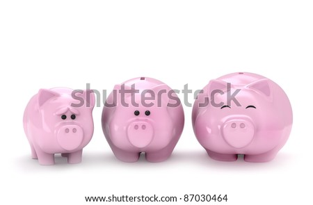 3D Illustration of Thin, Normal and Full Piggy Banks - stock photo