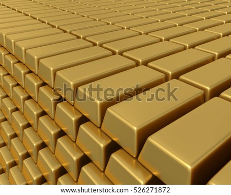 3D illustration of thousands of gold bullion bars piled high representing enormous wealth or assets.