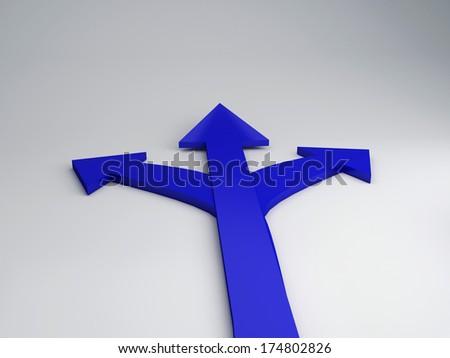 3d illustration of three arrows, choice concept  - stock photo