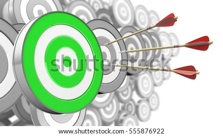 3d illustration of three arrows flight with green target over many targets background