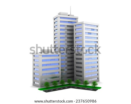 3d illustration of three city buildings with trees and road - stock photo