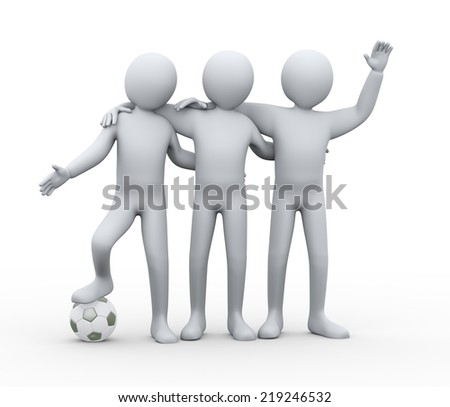 3d illustration of three soccer players friends with soccer football.  3d rendering of human people character.
