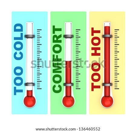 3d illustration of three thermometers isolated over white background - stock photo