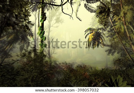 3D Illustration of tropical forest landscape where is observed in the background a very cloudy atmosphere - stock photo