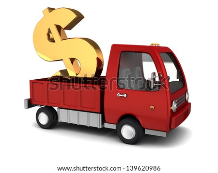 3d illustration of truck with dollar sign, money transfer concept - stock photo