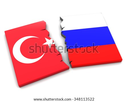 3d illustration of Turkey and Russia conflict - stock photo