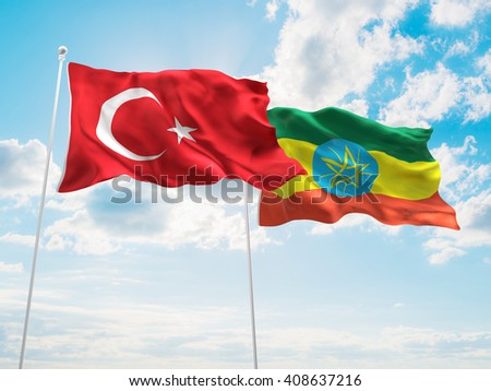 3D illustration of Turkey & Ethiopia Flags are waving in the sky - stock photo
