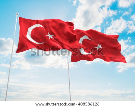 3D illustration of Turkey Flags are waving in the sky - stock photo