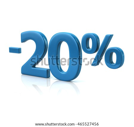 3d illustration of twenty percent discount in blue letters on white background
