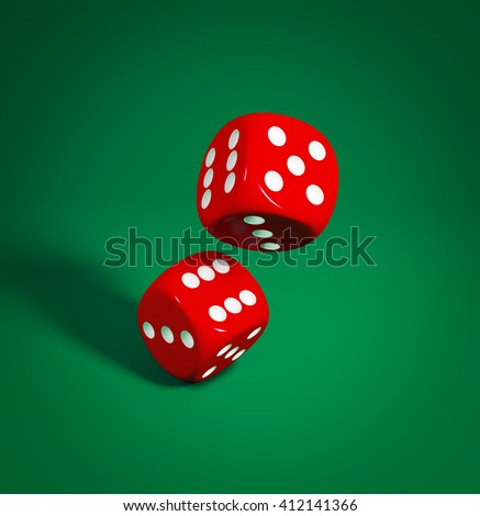 3D illustration of two red dice on the green background
