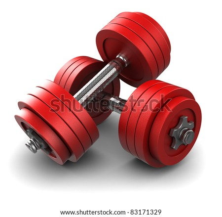 3d illustration of two red dumbbells over white background - stock photo