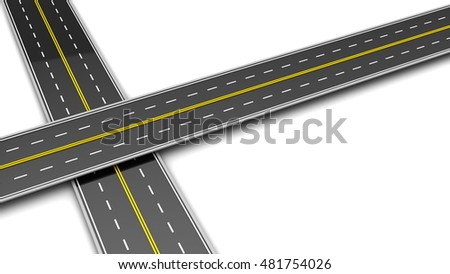 3d illustration of two roads cross over white background