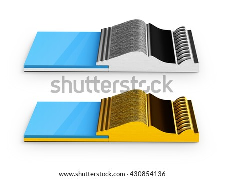 3d illustration of Two Sections of gold and silver frames