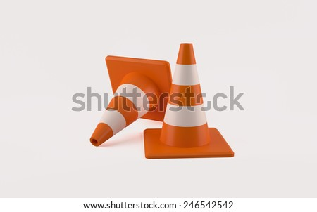 3d illustration of two traffic cones