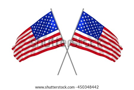 3d illustration of two USA flags together waving in the wind