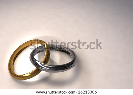 3d illustration of two wedding rings over white background - stock photo
