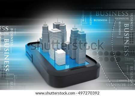 3d illustration of uilding on the top of smart phone