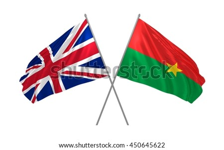 3d illustration of UK and Burkina Faso flags together waving in the wind