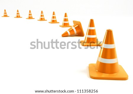 3d illustration of under construction cone in line - stock photo