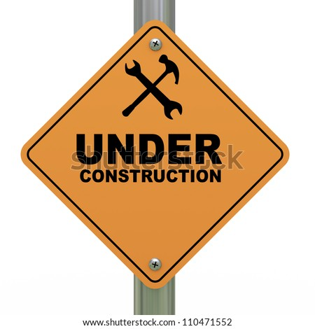 3d Illustration of under construction road sign