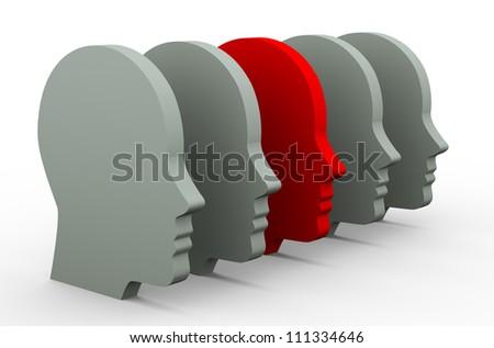 3d illustration of unique human head - stock photo