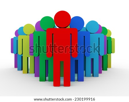 3d illustration of unique red leader with his team and group member. - stock photo