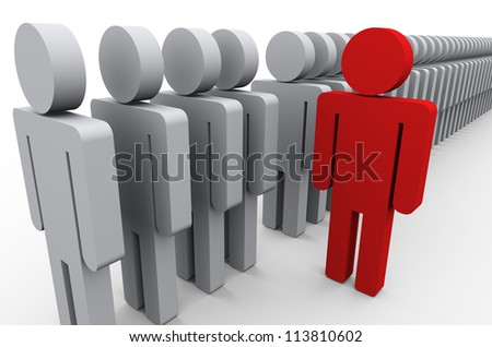 3d illustration of unique red man out of people line. Conecpt of standing out from crowd