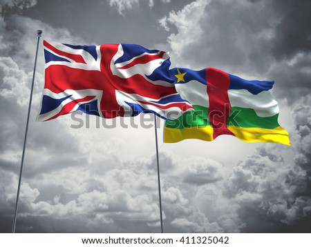 3D illustration of United Kingdom & Central African Republic Flags are waving in the sky with dark clouds