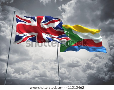 3D illustration of United Kingdom & Comoros Flags are waving in the sky with dark clouds