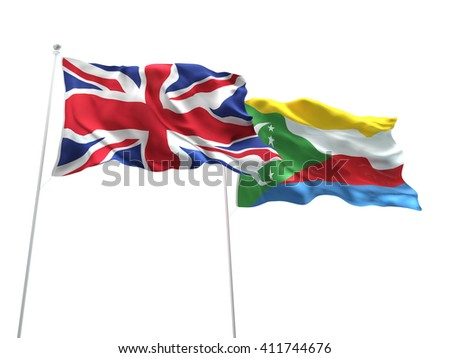 3D illustration of United Kingdom & Comoros Flags are waving on the isolated white background