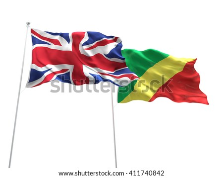 3D illustration of United Kingdom & Congo Flags are waving on the isolated white background