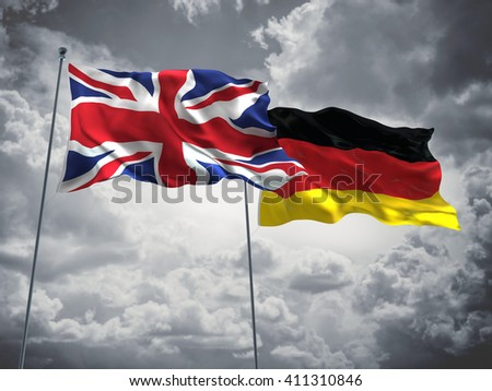 3D illustration of United Kingdom & Germany Flags are waving in the sky with dark clouds