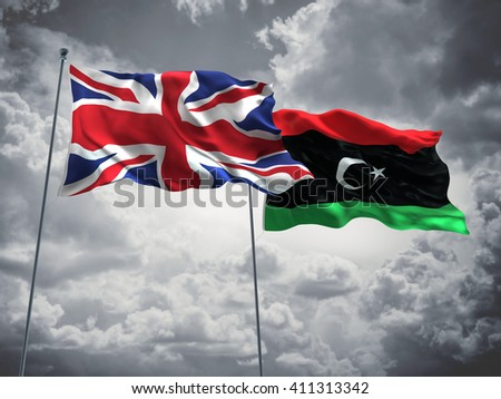 3D illustration of United Kingdom & Libya Flags are waving in the sky with dark clouds  - stock photo