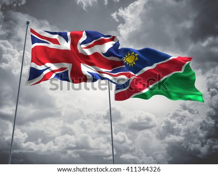 3D illustration of United Kingdom & Namibia Flags are waving in the sky with dark clouds