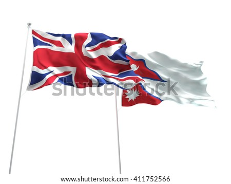 3D illustration of United Kingdom & Nepal Flags are waving on the isolated white background - stock photo