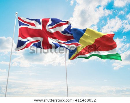 3D illustration of United Kingdom & Seychelles Flags are waving in the sky