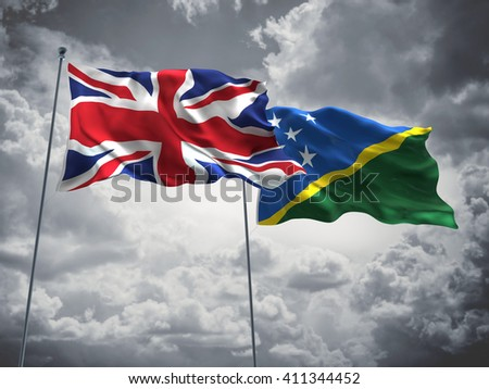 3D illustration of United Kingdom & Solomon Islands Flags are waving in the sky with dark clouds