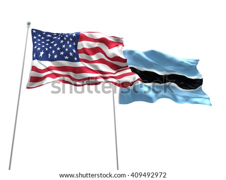 3D illustration of United States of America & Botswana Flags are waving on the isolated white background
