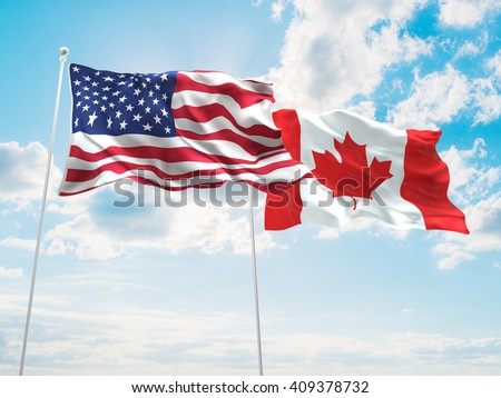 3D illustration of United States of America & Canada Flags are waving in the sky