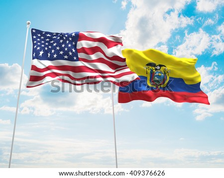 3D illustration of United States of America & Ecuador Flags are waving in the sky